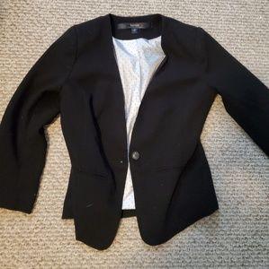 Kensie collarless black 3/4 sleeve blazer